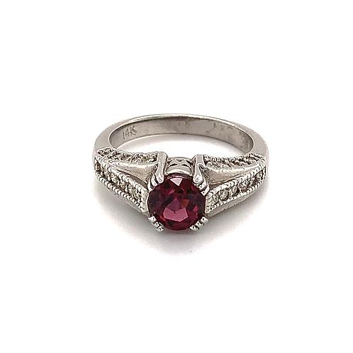 Neo-Vintage Garnet Ring, with Round Diamonds Set in 14k White Gold