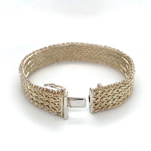 Sterling Silver Diamond-Cut Bracelet
