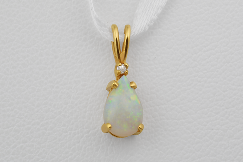 Opal Pendant with Diamond Accent in 14k Yellow Gold