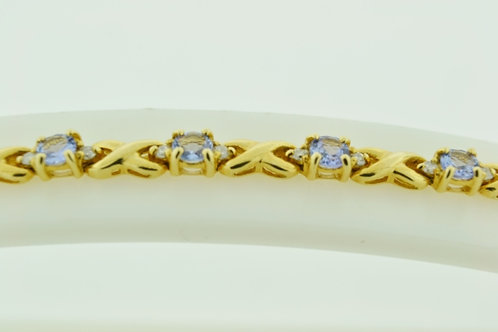 Tanzanite and Diamond Bracelet, in 14k Yellow Gold
