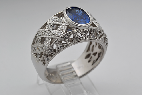 Bezel-Set Sapphire Ring with Diamond Accent and Milgrain, in 18k White Gold
