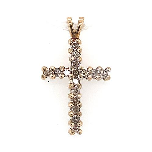 Diamond Cross Pendant, in 10k Yellow Gold