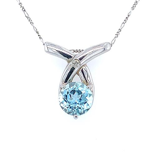 Aquamarine and Diamond Pendant, Set in 14k White Gold