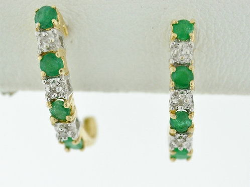J-Hoop Emerald Earrings, with Accent Diamonds in 14k Yellow Gold