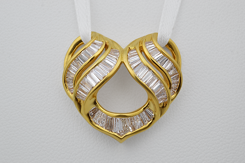 Baguette Diamond Heart Slide Pendant, in 18k Yellow Gold