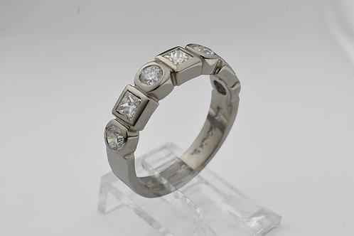 Round & Princess-Cut Diamond Ring, in 14k White Gold