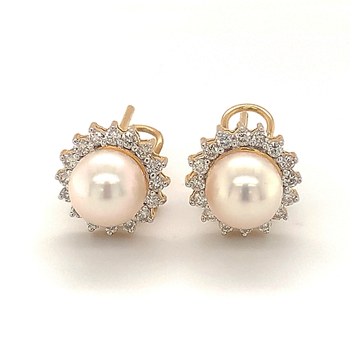Pearl and Diamond Earrings, in 14k Yellow Gold