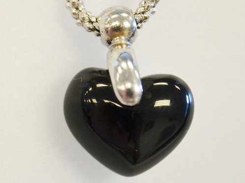 Heart Onyx Pendant on 14k White Gold Chain