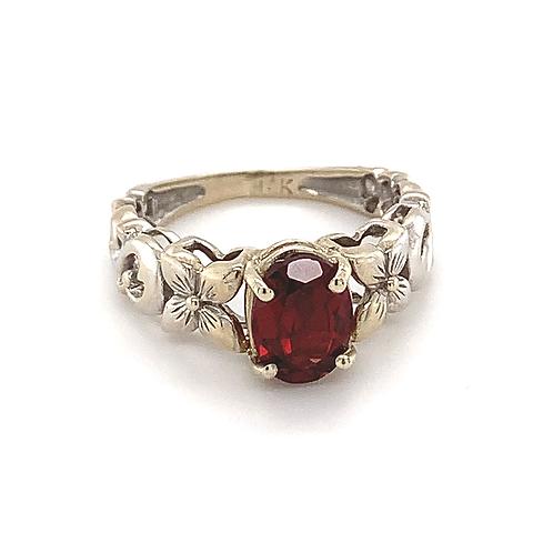 Garnet Ring, in 14k White Gold