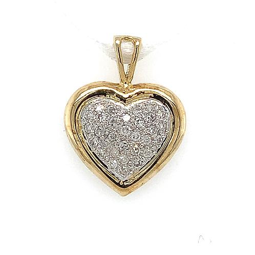 Diamond Heart Pendant, in 10k Two-Tone Gold