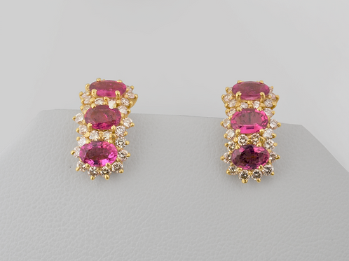 Pink Sapphire and Diamond Earrings, in 14k Yellow Gold