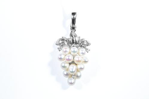 Pearl and Diamond Grape Cluster Pendant, in 14k White Gold