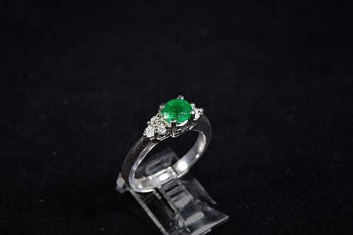 Muzo Emerald Ring with Diamonds, in 14k White Gold