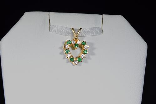 Emerald and Diamond Heart Pendant, in 14k Yellow Gold