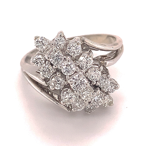 Waterfall Style Diamond Ring, Set in 14k White Gold