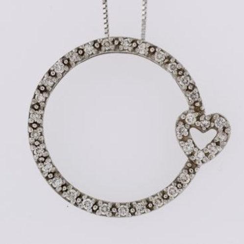 Eternity Diamond Heart Pendant, Set in 14k White Gold