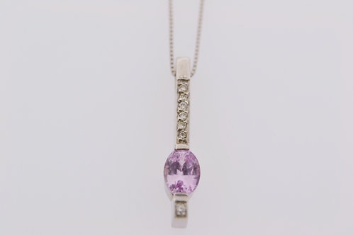 """Pink Sapphire Drop Pendant, Set in 14k White Gold on an 18"""" white gold Box Chain"""