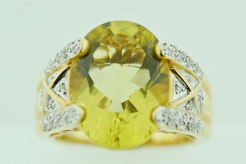 Lemon Citrine and Diamond Ring, in 14k Two Tone Gold