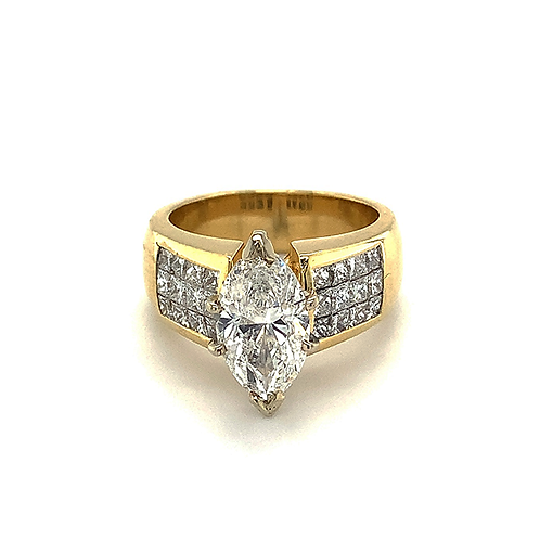 Marquis and Princess-Cut Diamond Ring, in 18k Yellow Gold