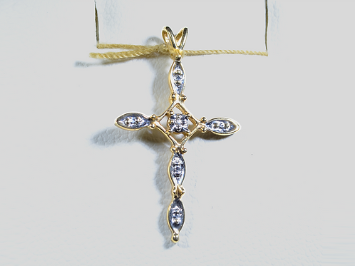 Diamond Cross Pendant, in 10k Yellow Gold