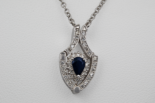Sapphire and Diamond Convertible Necklace, Set in 14k White Gold