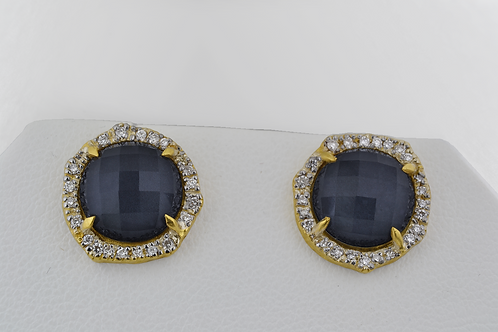 Cabochon-Cut Sapphire Earrings with Diamond Accents, in 18k Yellow Gold