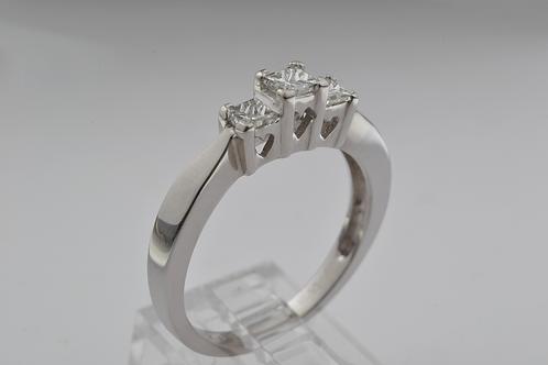 3-Stone Princess Cut Diamond Ring, in 14k White Gold