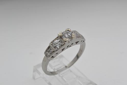 Antique European-Cut Diamond Ring, in Platinum