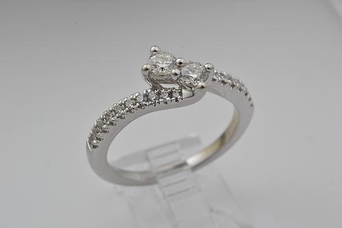 Dual Center Stone Diamond Band, in 14k White Gold