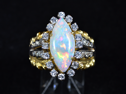 Antique Australian Opal and Diamond Ring, in 18k Two-Tone Gold