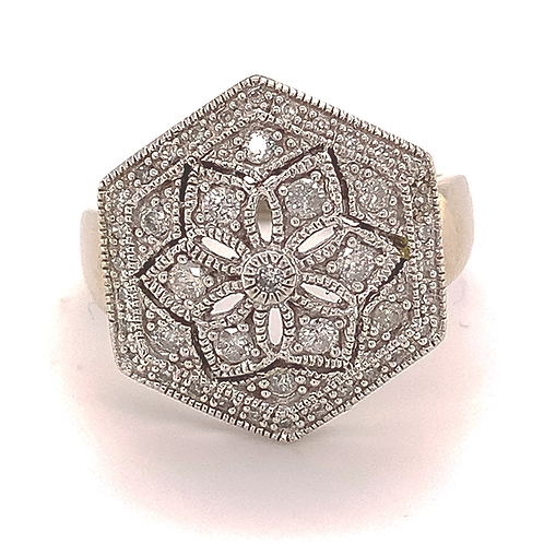 Diamond Hexagon Ring with Milgrain finish in 10k White Gold