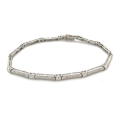 Bar Link Diamond Bracelet, in 14k White Gold