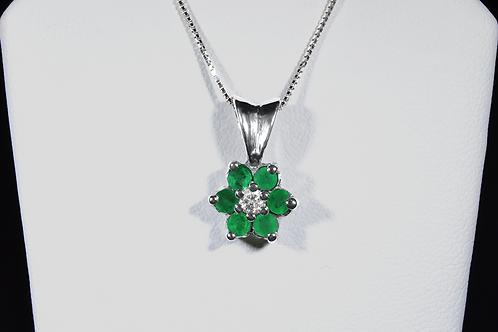 Emerald and Diamond Flower Pendant, Set in 14k White Gold