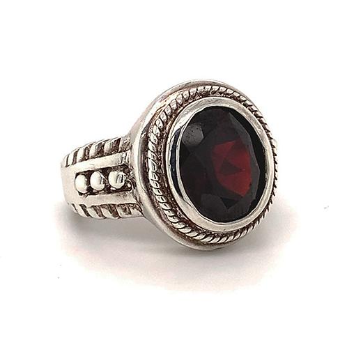 Garnet Ring, Set in Sterling Silver