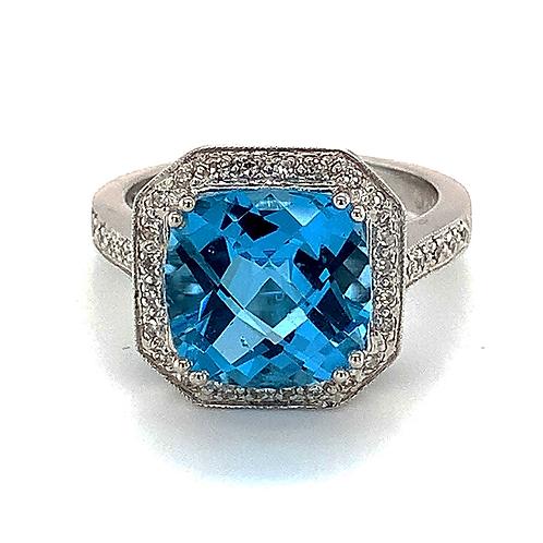 Blue Topaz and Diamond Ring, in 14k White Gold