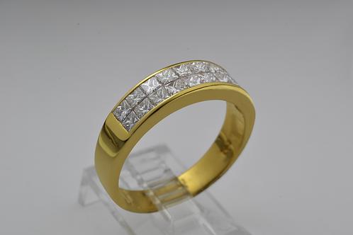Princess-cut Diamond Band, Set in 18k Yellow Gold
