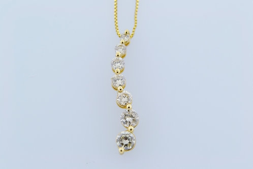 Diamond Journey Pendant, Set in 14k Yellow Gold