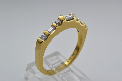 Round & Baguette Diamond Band, in 14k Yellow Gold