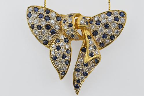 Handmade Sapphire and Diamond Bow Pendant, Set in 18k Yellow Gold