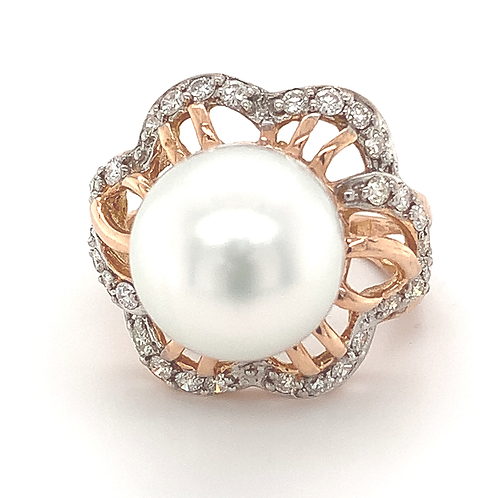 White South Sea Pearl and Diamond Ring, in 14k Rose Gold