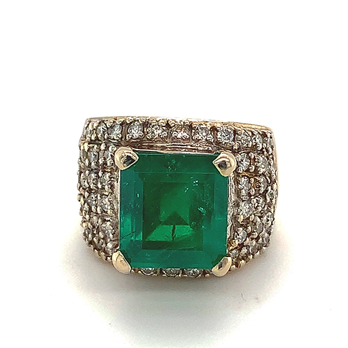 Muzo Emerald and Diamond Band, in 14k White Gold