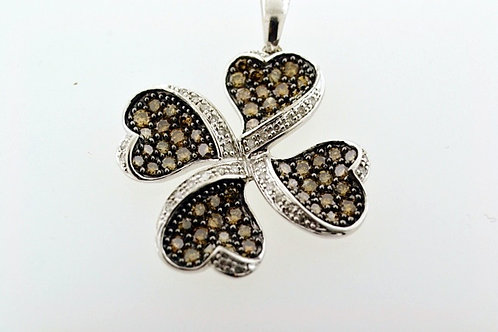 Four Leaf Clover Pendant, Set in 10k White Gold