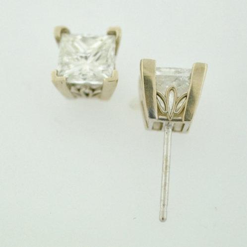 2.01ct Princess-cut Diamond Studs