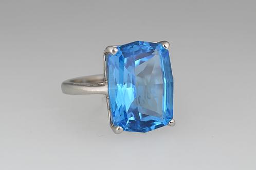 Blue Topaz Ring, Set in 14k White Gold