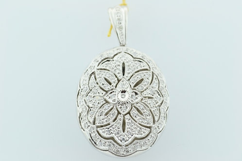 Diamond Locket Pendant, Set in 14k White Gold