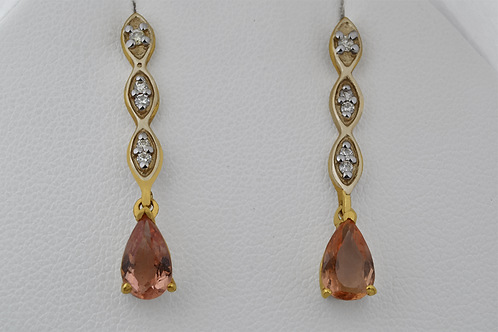 Precious Topaz Earrings, with Round Diamonds Set in 14k Yellow Gold