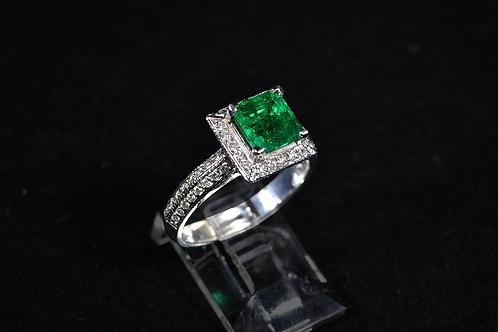 Muzo Emerald/Diamond Ring, Halo Style with Milgrain Finish in 14k White Gold
