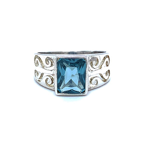 Blue Topaz Ring, Set in Sterling Silver