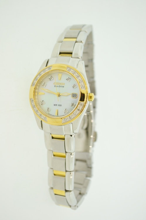 Two Tone S.S. Citizen Eco-Drive Watch w/ Accent Diamonds & Mother of Pearl Face