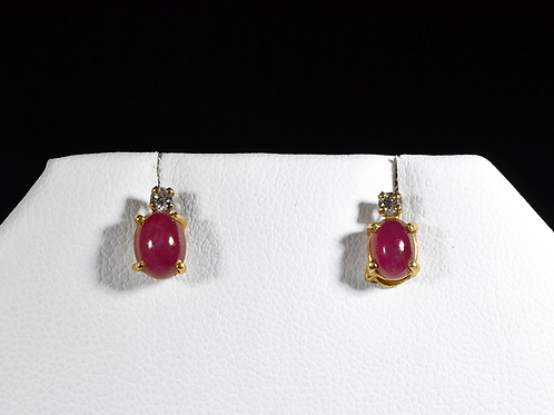 Cabochon Ruby and Diamond Earrings, in 14k Yellow Gold